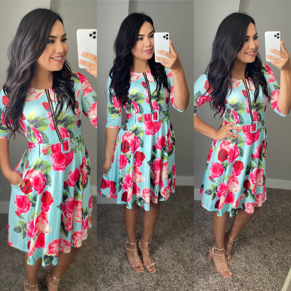 Molly Floral Belted Dress - The Darling Style