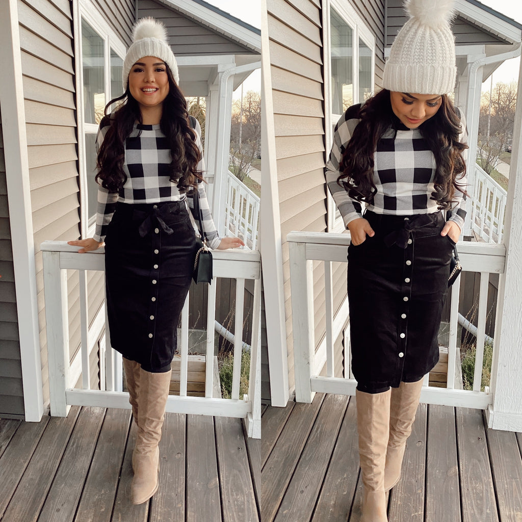 New Me Plaid Blouse - Black/White