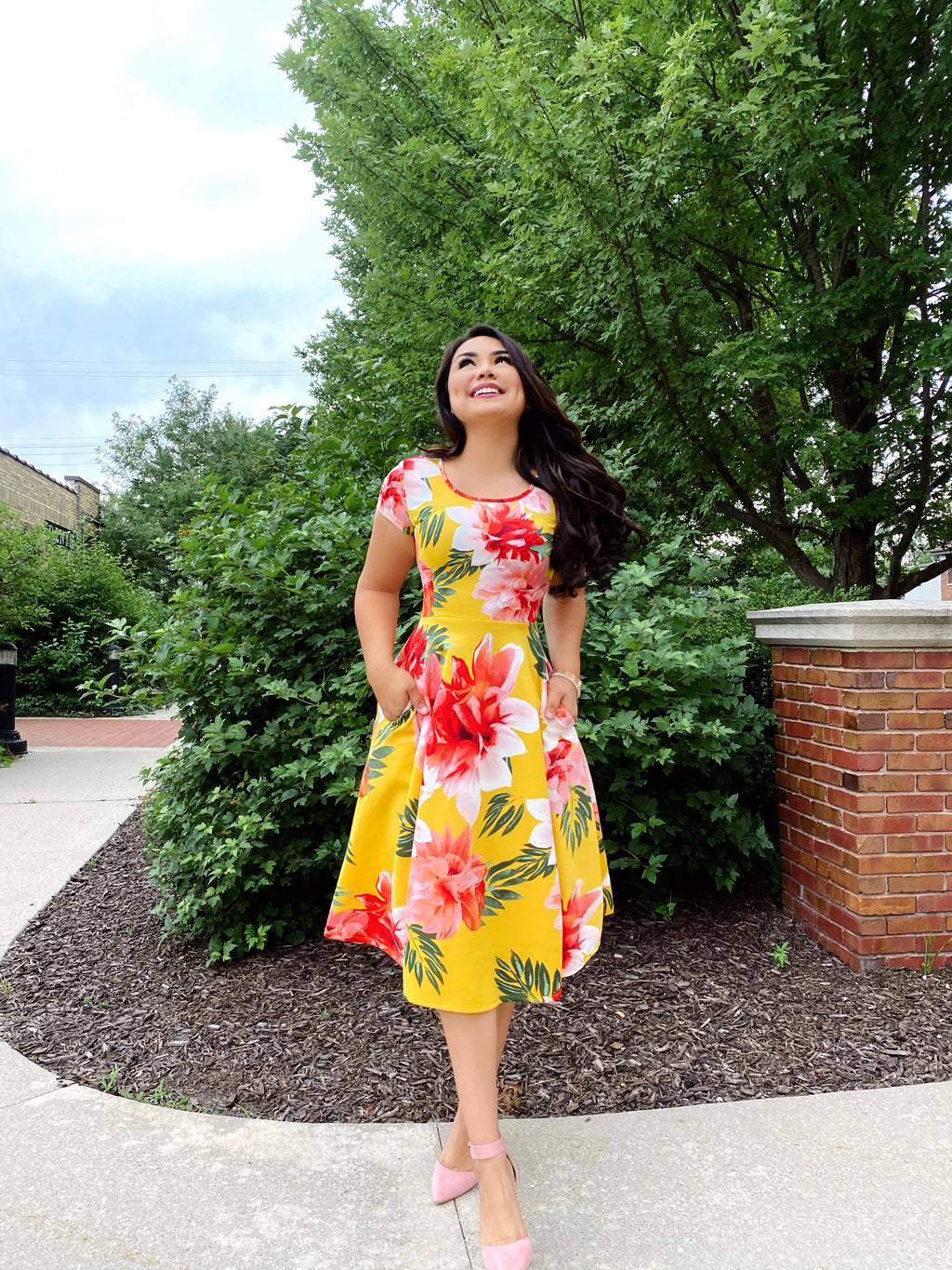 The Tropical Floral Dress - Mustard - The Darling Style - Modest Dresses