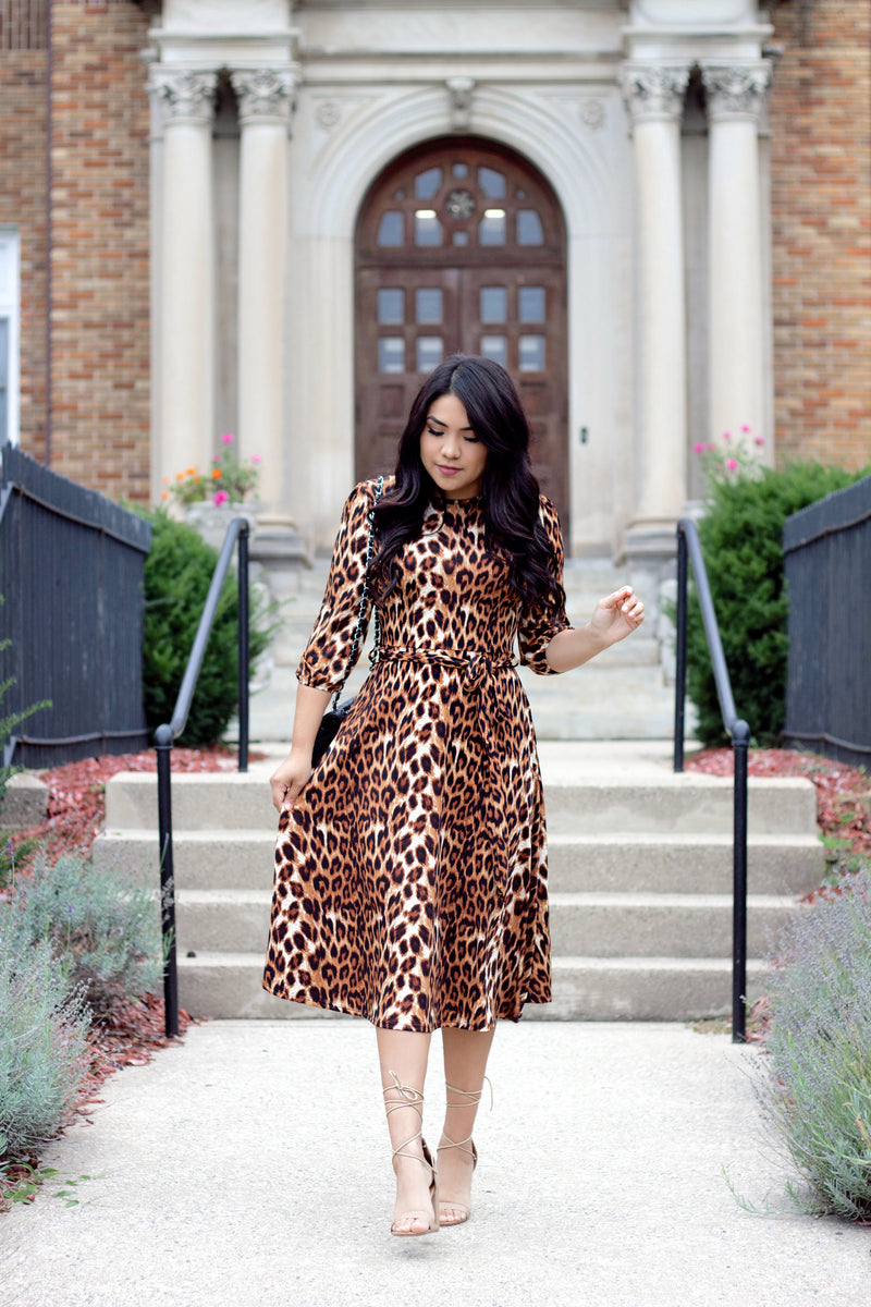 Hear Me Roar Midi Dress - The Darling Style - Modest Dresses