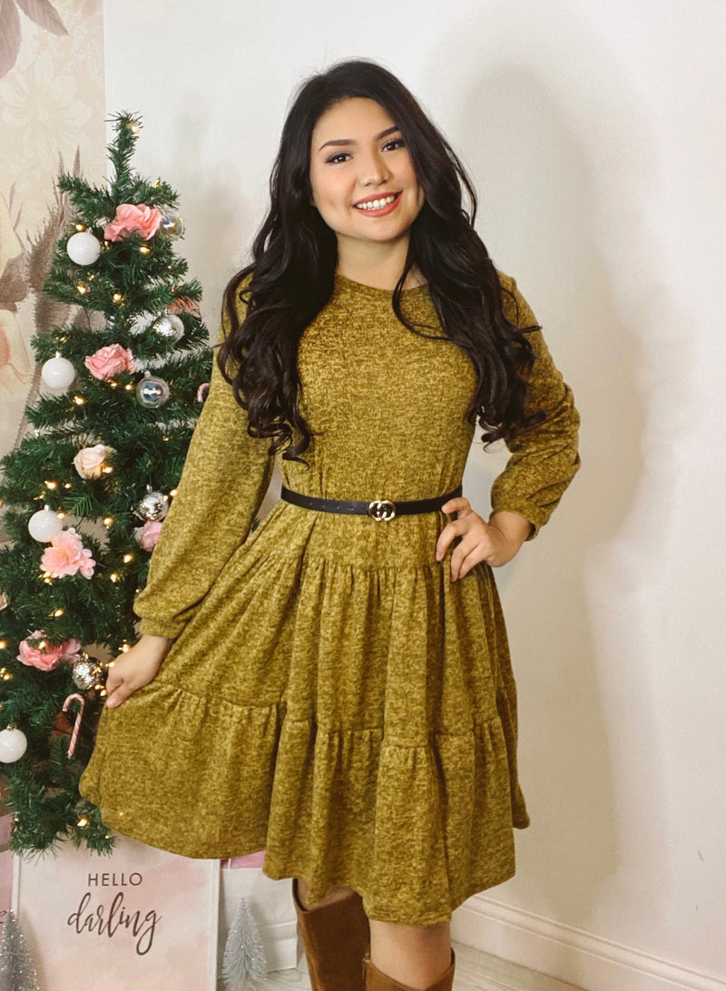Winter Babe - Tiered Sweater Dress - Mustard