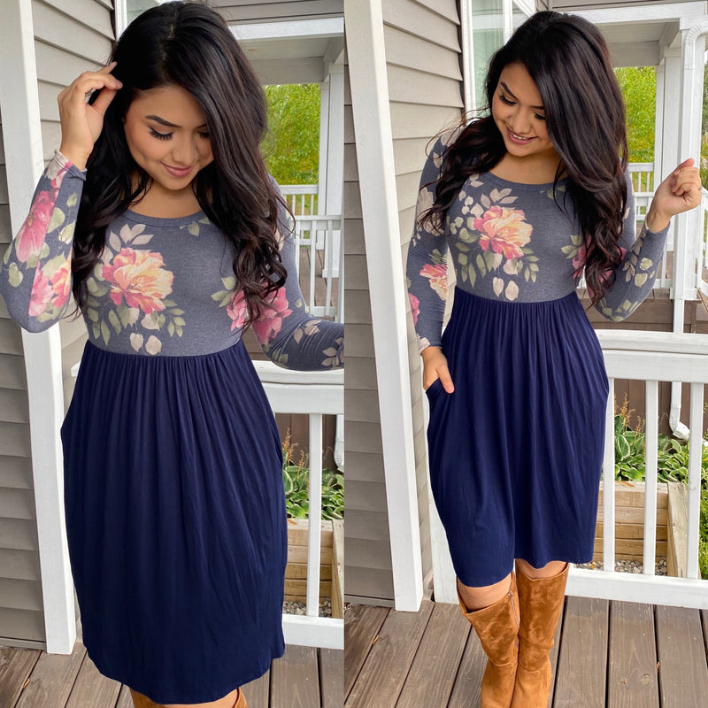 The Amy Dress - Navy - The Darling Style - Modest Dresses