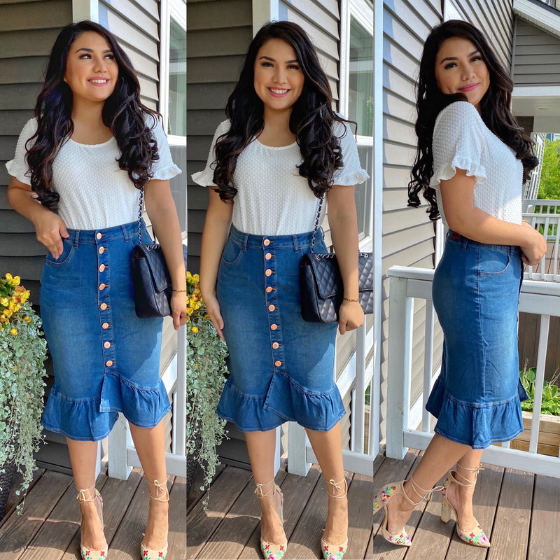 Mermaid Denim Skirt - Light Denim - The Darling Style - Modest Dresses