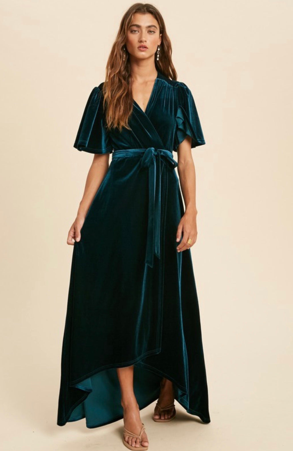Elena Velvet Wrap Dress - Emerald Teal