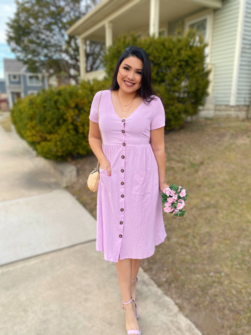 Spring Linen Button Down Dress in Lilac