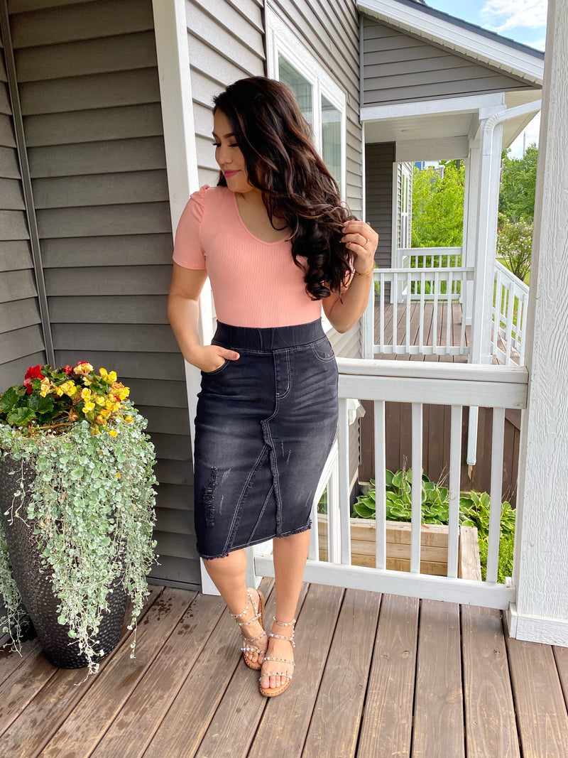 Daytona Denim Stretchy Skirt - Black - The Darling Style