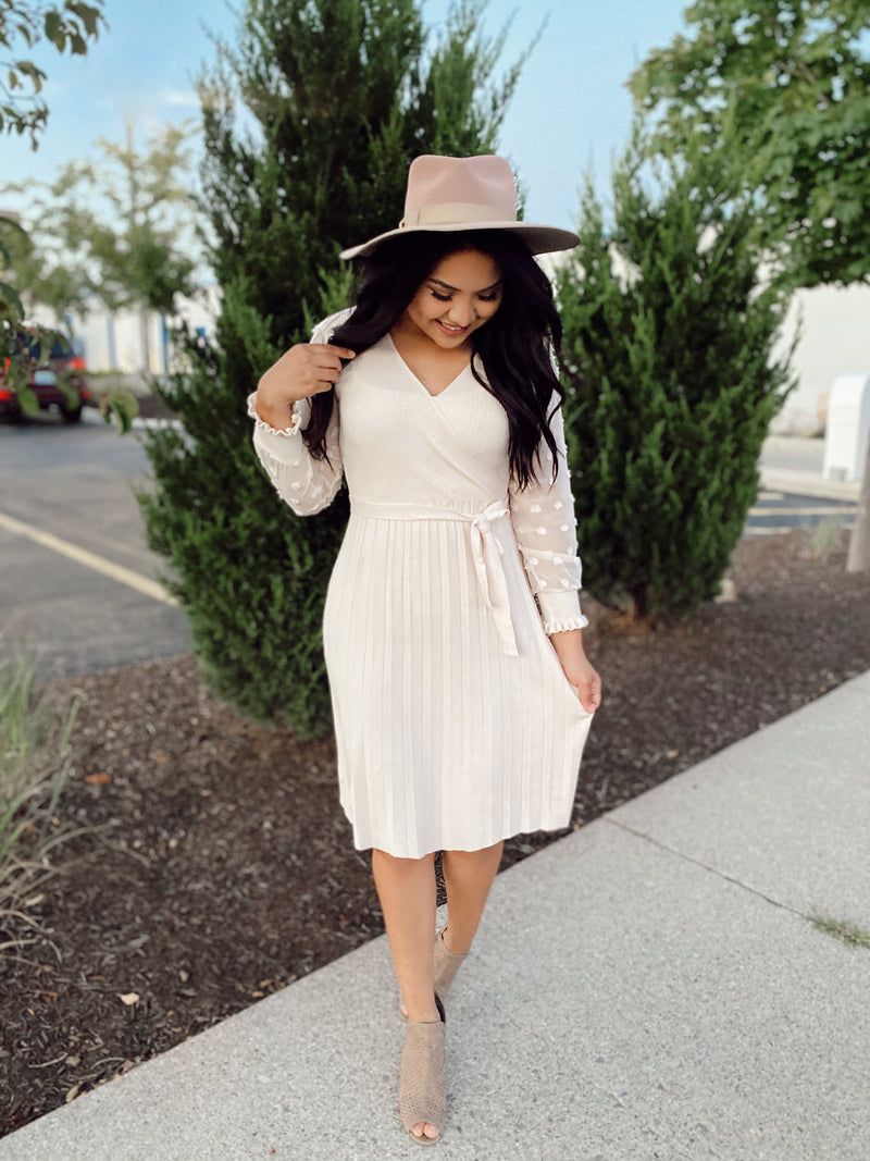 Pauline Sweater Dress - Cream Color - The Darling Style - Modest Dresses