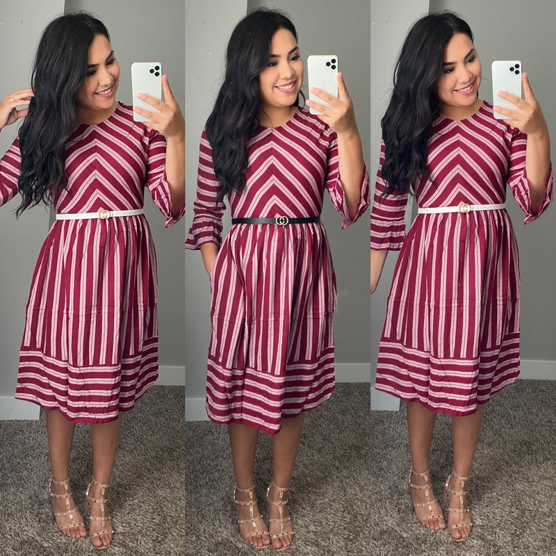 Kindness Wins Dress - Burgundy - The Darling Style - Modest Dresses