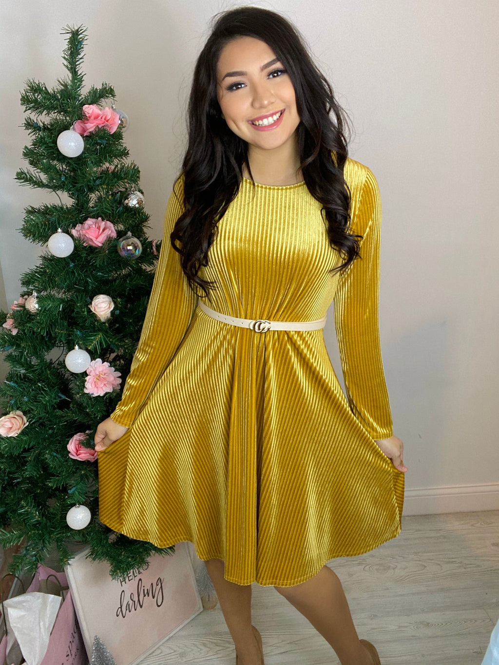 Snowflakes & Kisses Velvet Dress - Gold