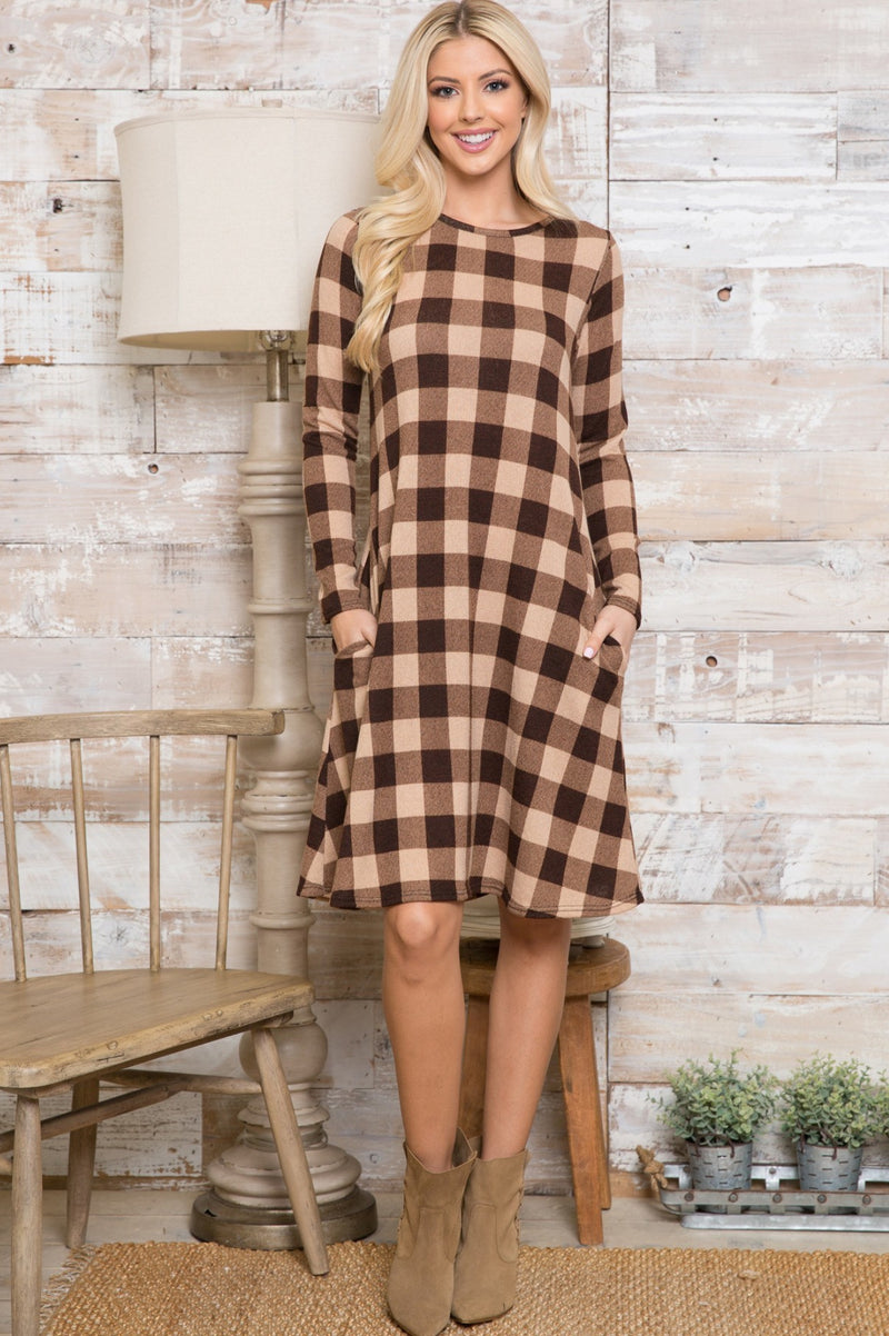 Checkered Brown/Taupe Dress or Long Top