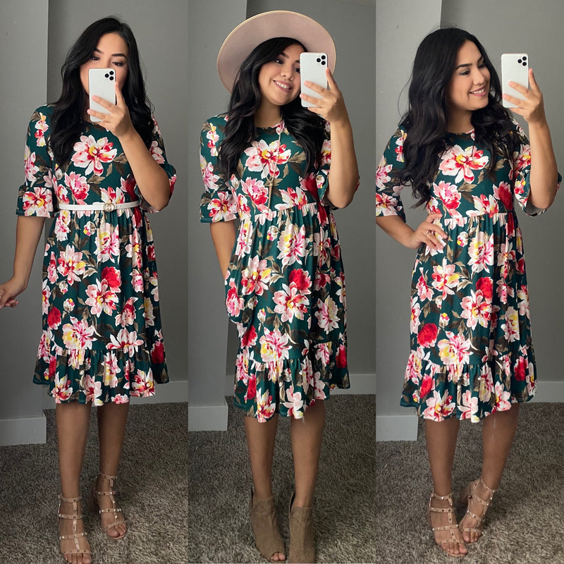 Fall Bell Sleeve Floral Dress - Hunter Green - The Darling Style - Modest Dresses