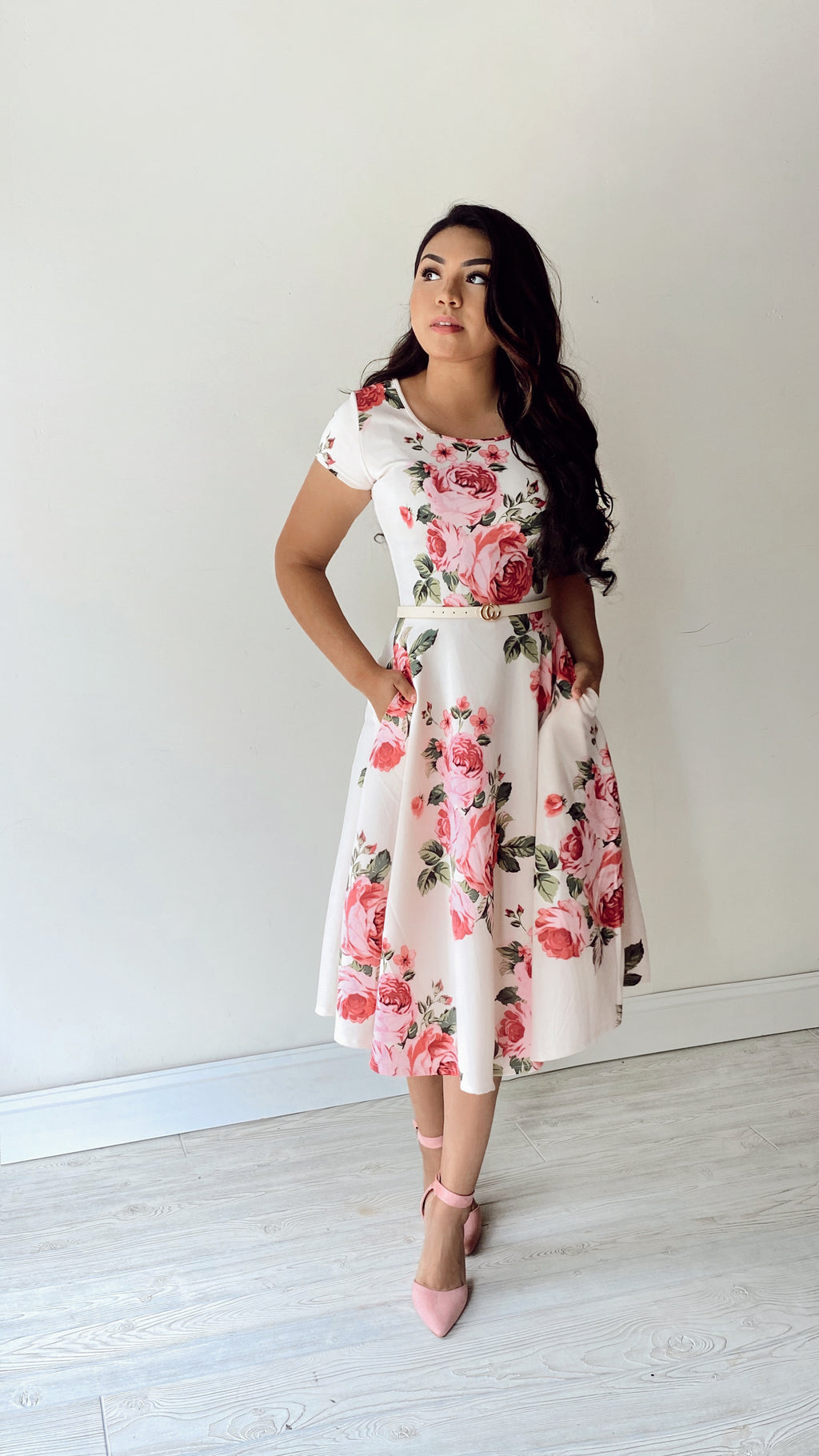 The Vera Swing Dress - In Pink/Beige (Pre-Order) - The Darling Style - Modest Dresses