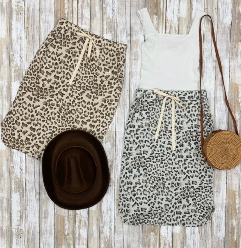 Liza Leopard Drawstring Skirt - Grey - The Darling Style - Modest Dresses