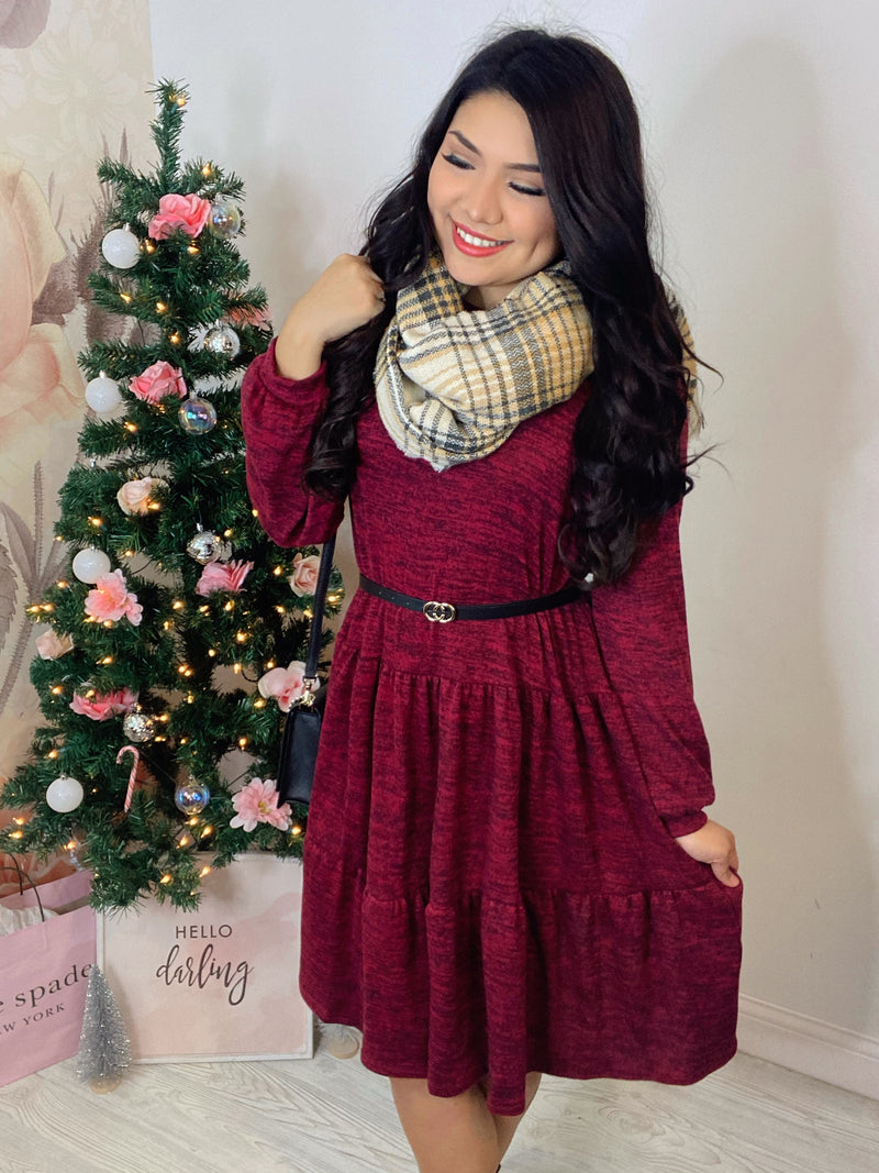Winter Babe - Tiered Sweater Dress - Burgundy