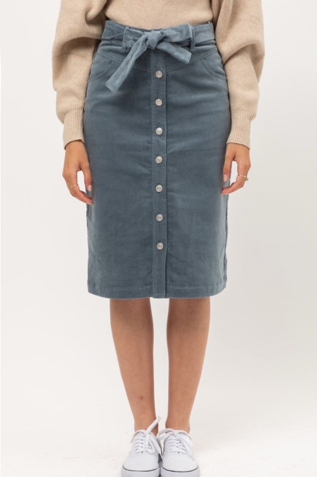 Corduroy Skirt - Blue Stone
