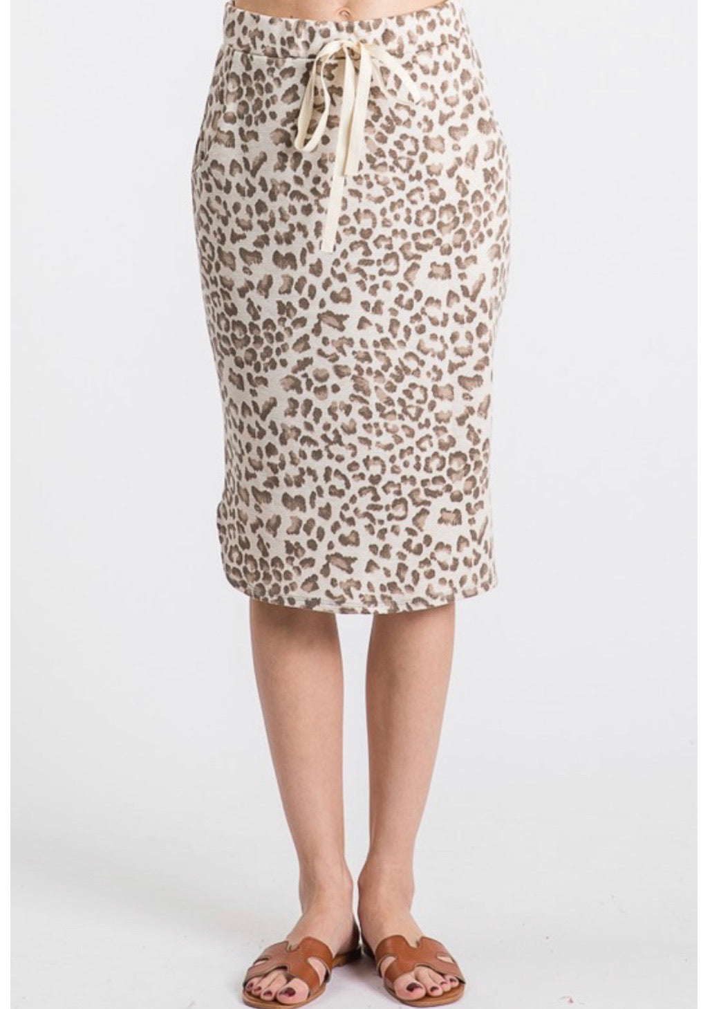 Liza Leopard Drawstring Skirt - Mocha Color - The Darling Style - Modest Dresses