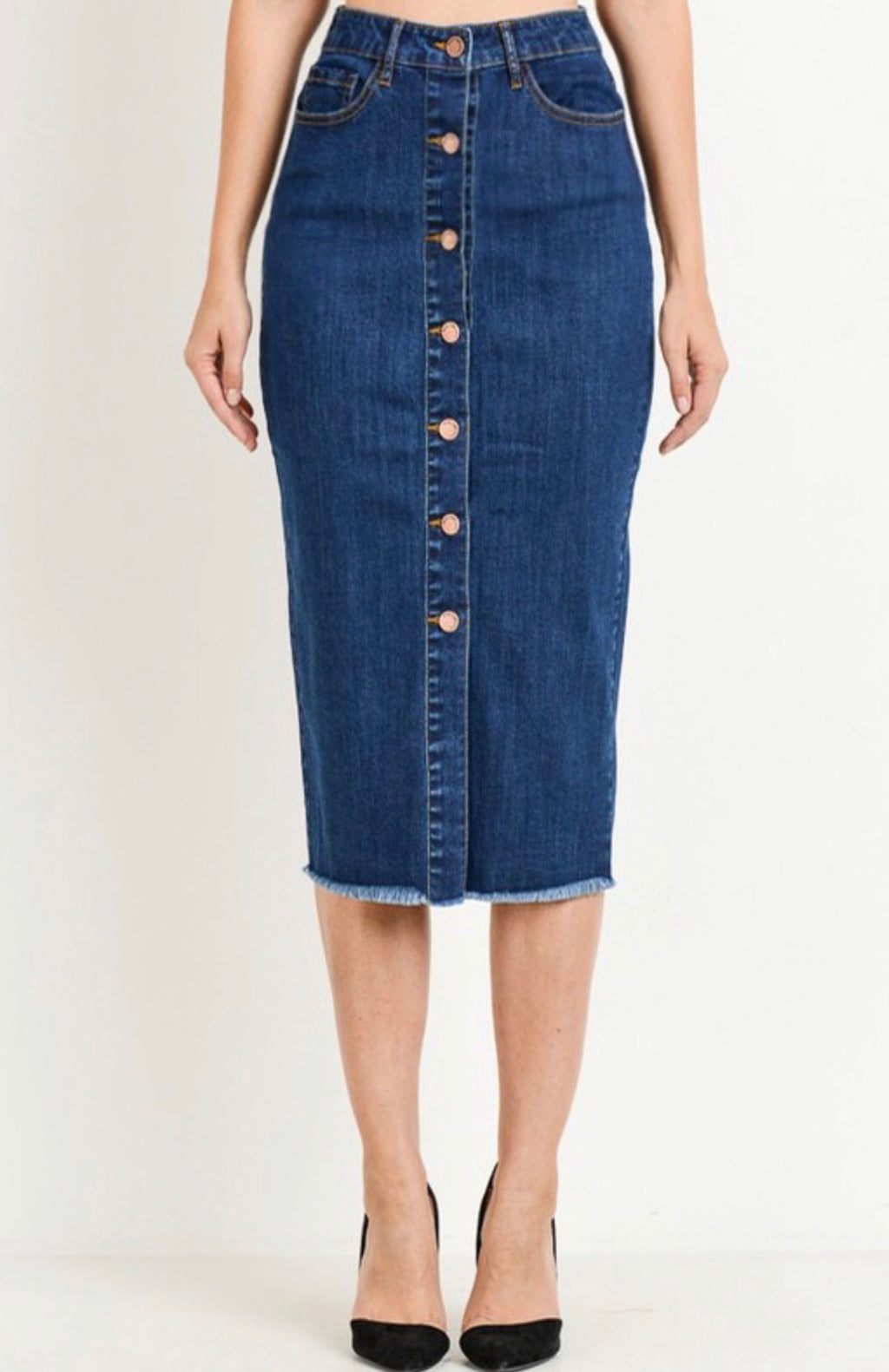 Kim High Waisted Denim Button Skirt