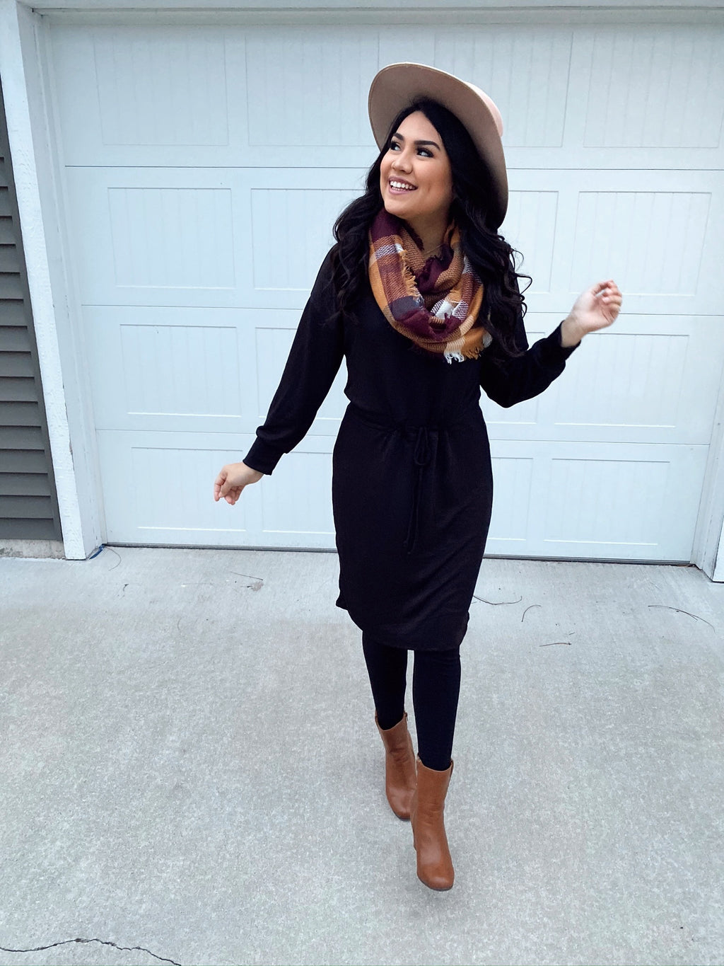 Sweater Weather Cozy Dress - Black