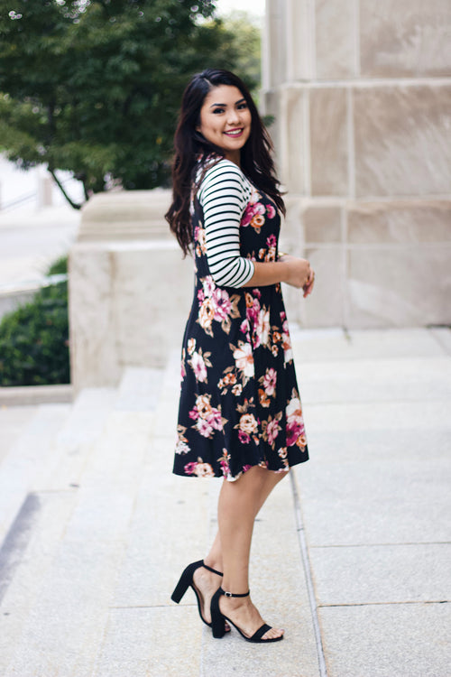 Striped Floral Dress - Black