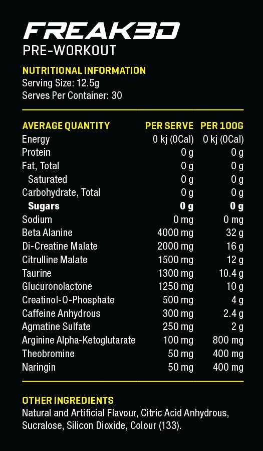 Anabolix Freak3d Nutritional Panel