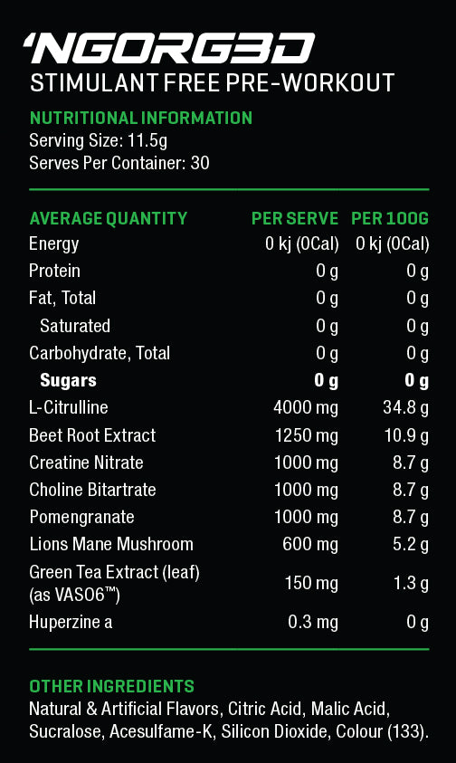 NGorg3d Pre Workout Nutrition