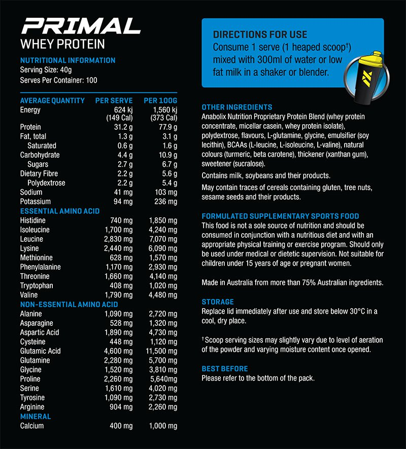 Anabolix Primal Nutritional Info
