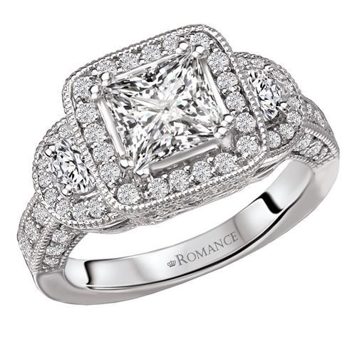 18kt Halo with Side Diamonds ENGAGEMENT RINGS Romance [Everett Jewelry Shreveport Louisiana]