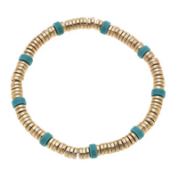 Luca Beaded Bracelet in Turquoise and Worn Gold