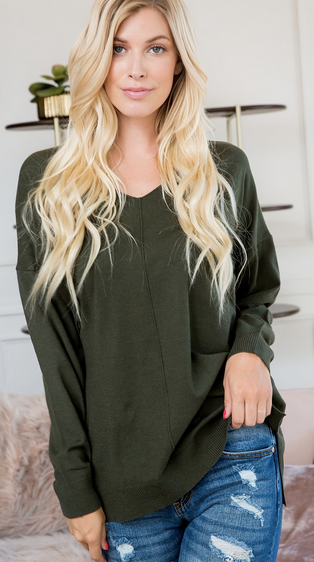 V Neck Tunic - Evergreen