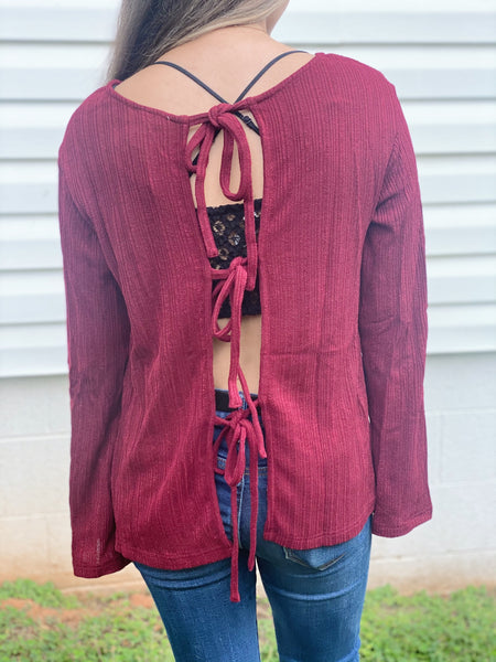 Burgundy Tie Back Top