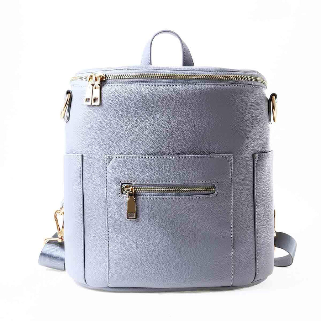 Mini Vegan Leather Backpack (New Grey)