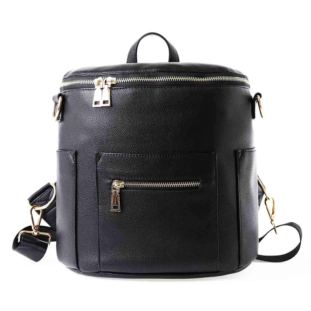 Mini Faux Leather Bag Backpack (Black)