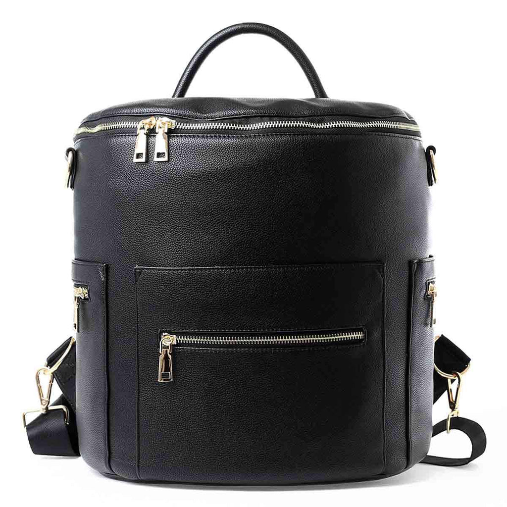 Large Vegan Leather Designer Diaper Bag Backpack (Black)