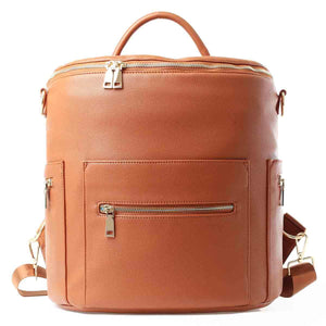 Large Vegan Leather Designer Diaper Bag Backpack (Brown)