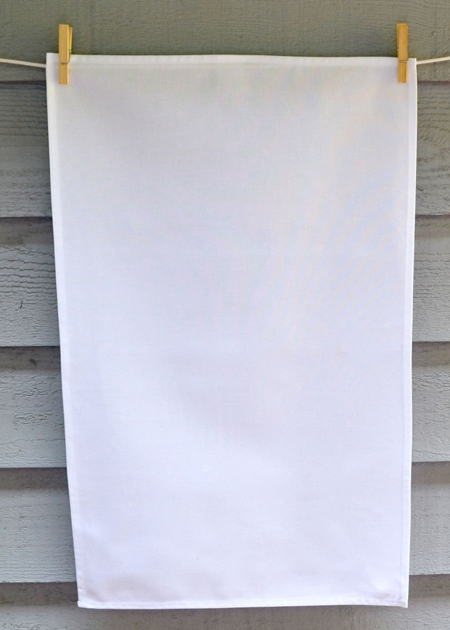 White 100% cotton tea towel made in Canada
