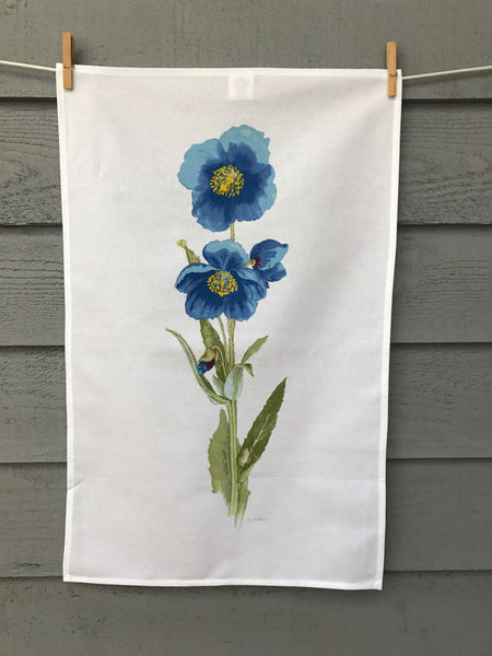 Himalayan Blue Poppies printed tea towel