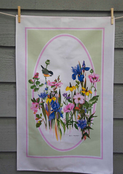 Country Garden watercolour printed tea towel
