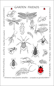 Beneficial garden insects printed tea towel