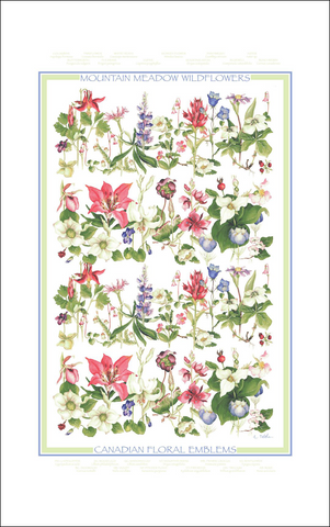 Mountain Meadow Wildflowers Canadian Floral Emblems printed tea towel