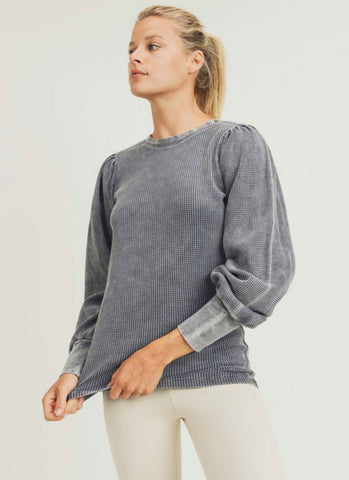 Waffle-Knit pullover top