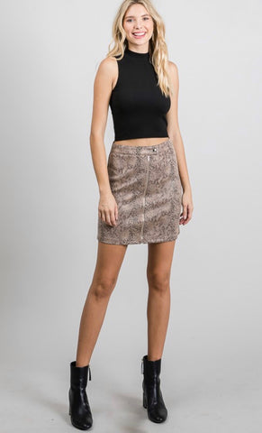 Camel snake mini skirt