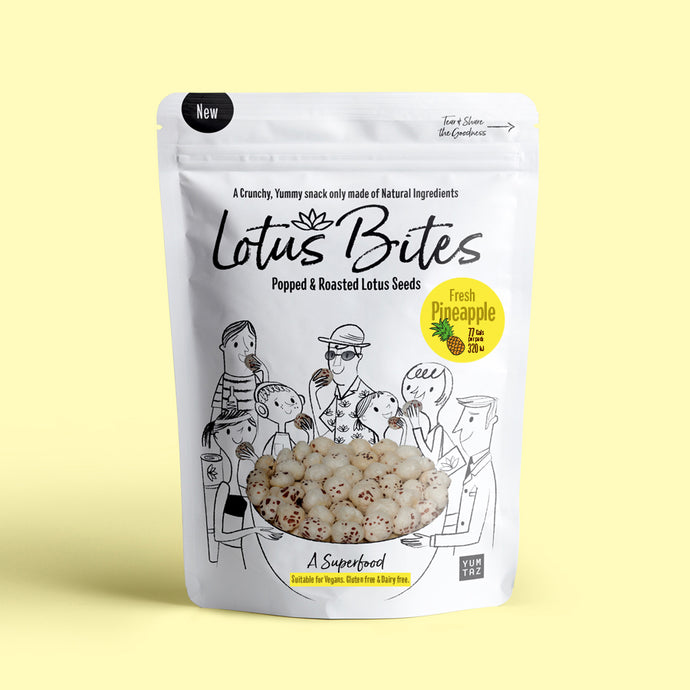 Yumtaz Lotus Bites – Fresh Pineapple. Lotus Bites are a Crunchy, Yummy snack only made of Natural Ingredients.