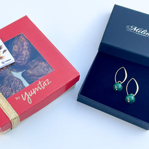 Box of 4 Stuffed Medjool Dates and Malachite Drop Earrings in Gold Plated Sterling Silver