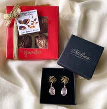 Box of 4 Stuffed Medjool Dates with Rose Quartz Lotus Earrings in Gold Plated Sterling Silver