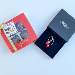 Box of 4 Stuffed Medjool Dates with Coral Drop Earrings in Gold Plated Sterling Silver
