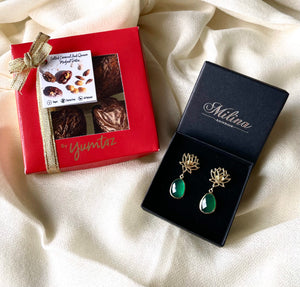 Box of 4 Stuffed Medjool Dates with Green Onyx Lotus Earrings in Gold Plated Sterling Silver