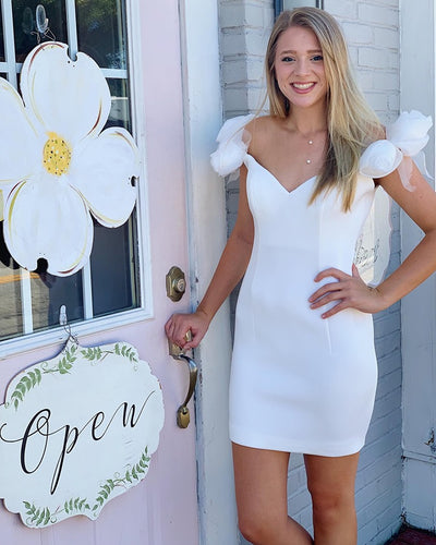 Ivory Off Shoulder Little White Dress