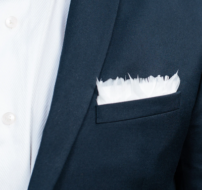 Carew Pocket Square- White Goose Feathers