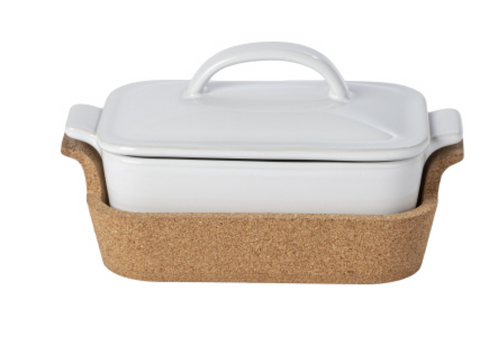 Rectangle Covered Casserole with Cork Tray