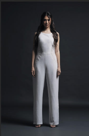 Ivory Jumpsuit w/ Side Cutouts